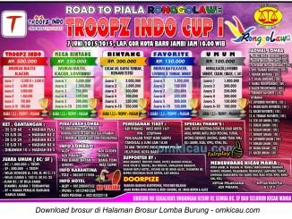 Brosur Lomba Burung Road to Piala Ronggolawe-Troopz Indo Cup I, Jambi, 7 Juni 2015