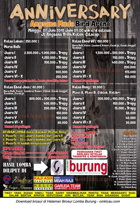 Brosur Lomba Burung Berkicau Anniversary Angsana Muda Bird Arena, Cilacap, 7 Juni 2015