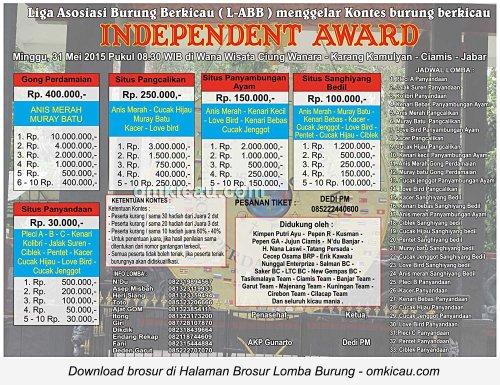 Brosur Lomba Burung Berkicau Independent Award, Ciamis, 31 Mei 2015