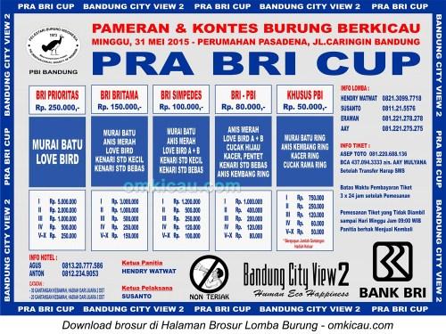 Brosur Lomba Burung Berkicau Pra-BRI Cup, Bandung, 31 Mei 2015