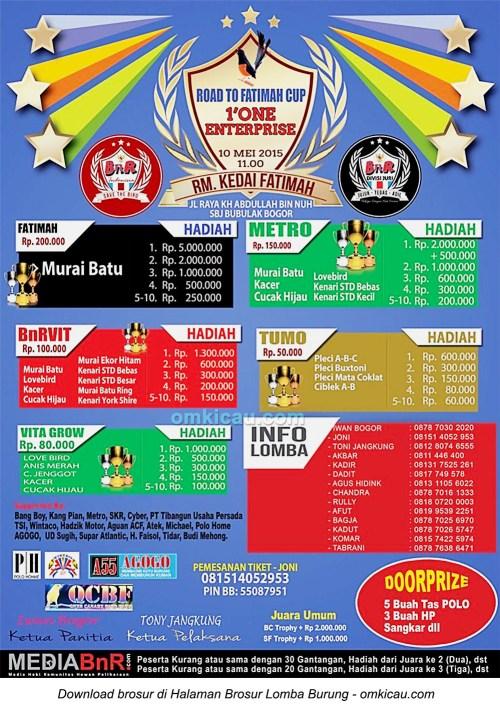 Brosur Lomba Burung Berkicau Road to Fatimah Cup, Bogor, 10 Mei 2015