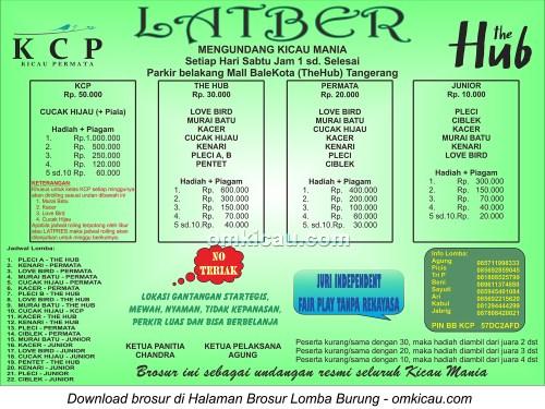 Brosur Latber Kicau Permata (KCP) Tangerang, setiap Sabtu jam 1 siang