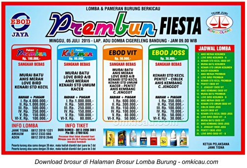 Brosur Lomba Burung Berkicau Prembun Fiesta, Bandung, 5 Juli 2015
