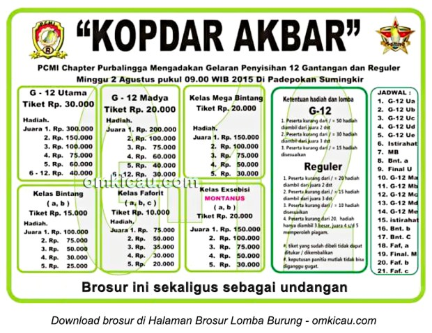 Brosur kontes pleci Kopdar Akbar PCMI Chapter Purbalingga, 2 Agustus 2015