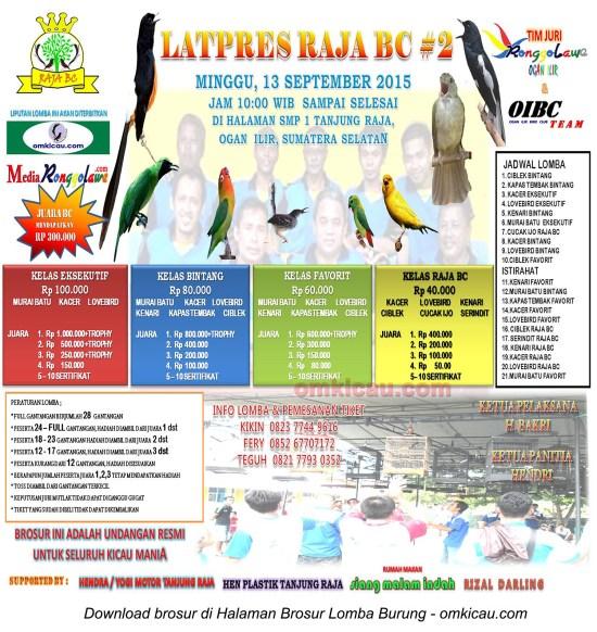 Brosur Latpres Burung Berkicau Raja BC #2, Ogan Ilir, 13 September 2015