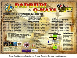 Brosur Lomba Burung Berkicau Papburi Solo & Q-Maxs, Solo, 13 September 2015