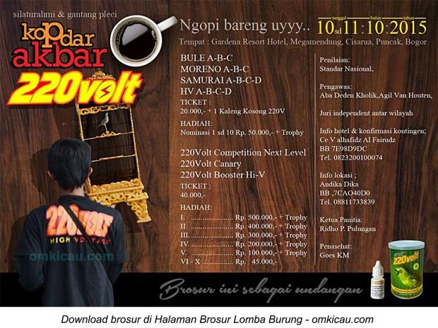 Brosur Kontes Pleci Kopdar Akbar 220 Volt, Bogor, 11 Oktober 2015