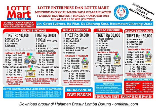 Brosur Latber Burung Berkicau Lotte Enterprise, Cikarang, 4 Oktober 2015