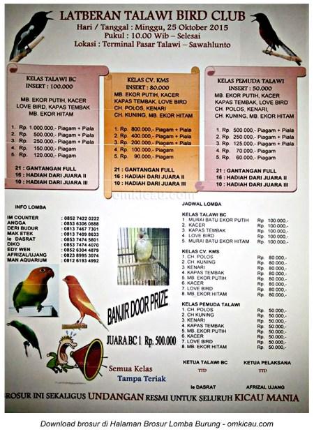 Brosur Latberan Talawi Bird Club, Sawahlunto, 25 Oktober 2015