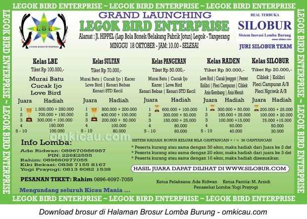 Brosur Lomba Burung Berkicau Grand Launching LGE, Tangerang, 18 Oktober 2015