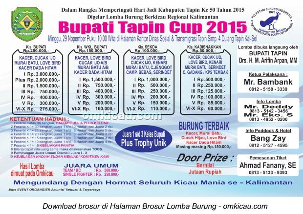 Brosur Lomba Burung Berkicau Bupati Tapin Cup, 29 November 2015