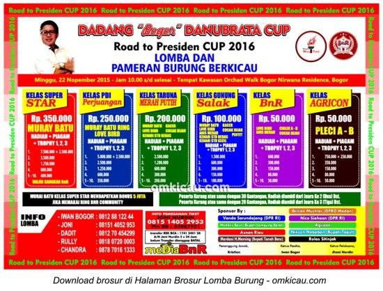 Brosur Lomba Burung Berkicau Dadang Danubrata Cup, Bogor, Minggu 22 November 2015
