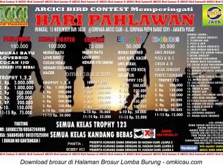 Brosur Lomba Burung Berkicau Hari Pahlawan - Arcici Bird Contest, Jakarta, 15 November 2015