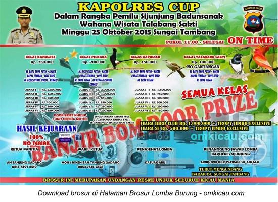 Brosur Lomba Burung Berkicau Kapolres Cup, Sijunjung, 25 Oktober 2015