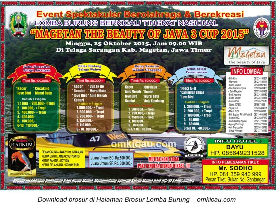 Brosur Lomba Burung Berkicau Magetan the Beauty of Java 3 Cup, 25 Oktober 2015