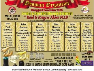 Brosur Lomba Burung Berkicau Road to Kongres Akbar PLLB - Oesman Organizer, Bekasi, 8 November 2015