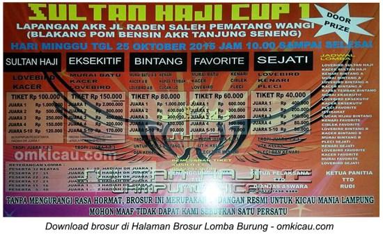 Brosur Lomba Burung Berkicau Sultan Haji Cup 1, Bandarlampung, 25 Oktober 2015