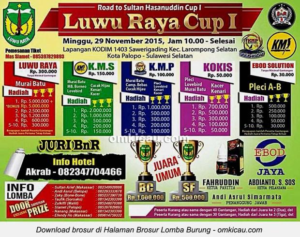 Brosur Lomba Burung Berkicau Luwu Raya Cup I, Kota Palopo, 29 November 2015