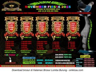 Brosur Lomba Burung Berkicau November Fiesta - Wong Pitoe, Purwokerto, 29 November 2015