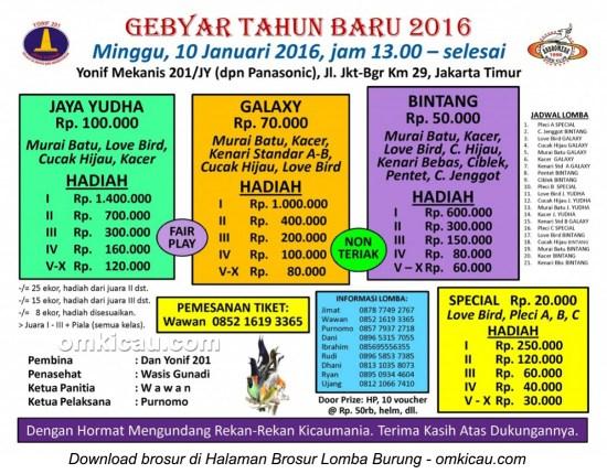 Brosur Gebyar Tahun Baru 2016 Yonif Mekanis 201, Jakarta Timur, 10 Januari 2016