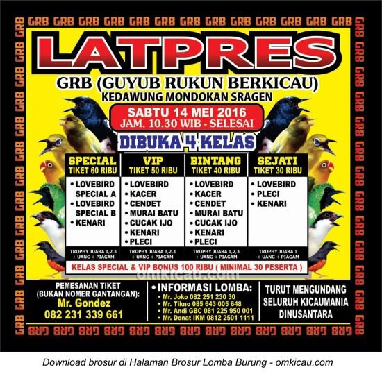 Brosur Latpres Guyub Rukun Berkicau (GRB) Sragen, 14 Mei 2016