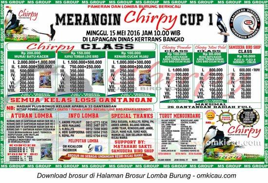 Brosur Lomba Burung Berkicau Merangin Chirpy Cup 1, Bangko, 15 Mei 2016