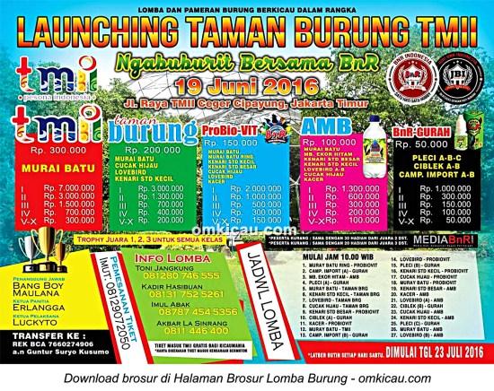 Brosur Launching Taman Burung TMII-Ngabuburit Bersama BnR, Jakarta Timur, 19 Juni 2016
