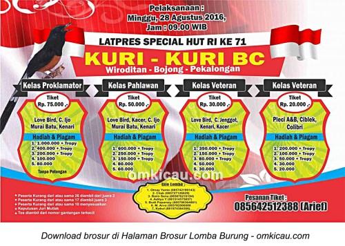 Brosur Latpres Special HUT RI Ke-71 Kuri-Kuri BC, Pekalongan, 28 Agustus 2016