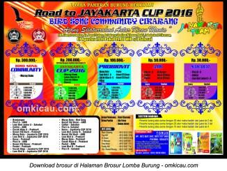 Brosur Lomba Burung Berkicau Road to Jayakarta Cup, Cikarang, 7 Agustus 2016