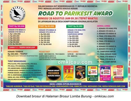 Brosur Lomba Burung Berkicau Road to Parikesit Award, Klaten, 28 Agustus 2016