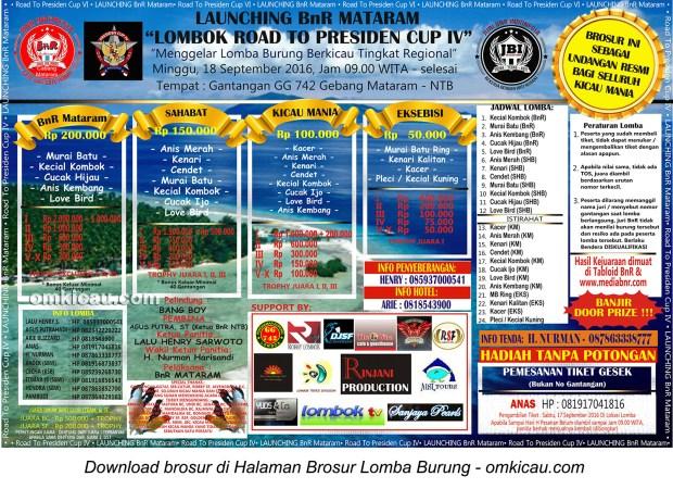 Brosur Launching BnR Mataram Lombok Road to Presiden Cup IV, Mataram, 18 September 2016