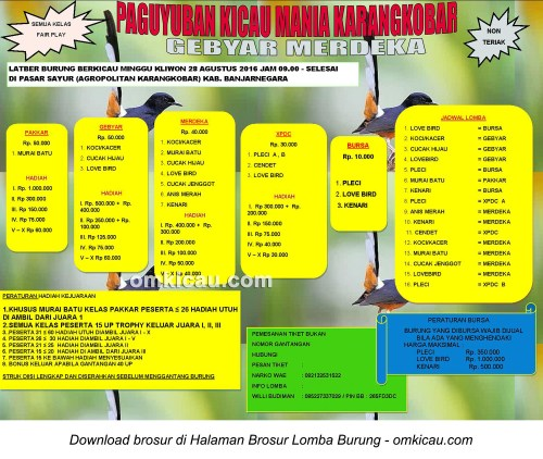 Brosur Lomba Burung Berkicau Gebyar Merdeka Pakkar, Banjarnegara, 28 Agustus 2016