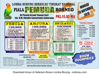 Brosur Lomba Burung Berkicau Piala Pemuda Borneo, Samarinda, 20 November 2016