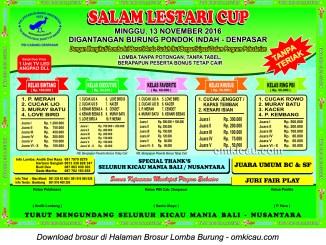 Brosur Lomba Burung Berkicau Salam Lestari Cup, Denpasar, 13 November 2016