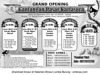 Brosur Lomba Burung Berkicau Grand Opening Gantangan Pasar Kartasura, 31 Desember 2016