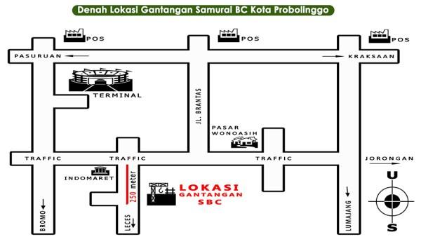 Denah lokasi Gantangan Samurai BC Probolinggo