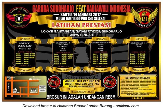 Brosur Latpres Garuda Sukoharjo feat Radjawali Indonesia, Sukoharjo, 14 Januari 2017