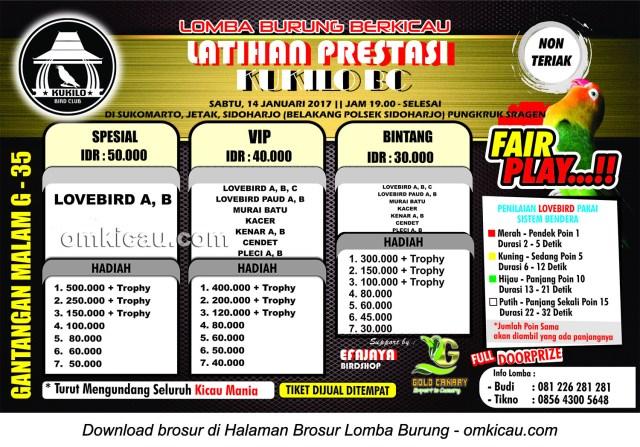 Brosur Latpres Malam Kukilo BC, Sragen, 14 Januari 2017