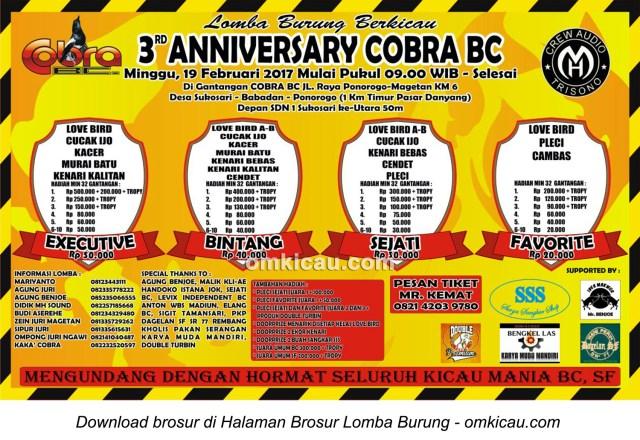 Brosur Lomba Burung Berkicau 3rd Anniversary Cobra BC, Ponorogo, 19 Februari 2017
