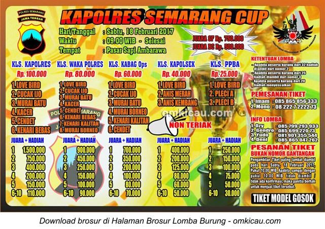 Brosur Lomba Burung Berkicau Kapolres Semarang Cup, Ambarawa, 18 Februari 2017