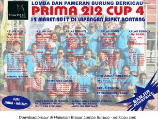 Brosur Lomba Burung Berkicau Prima 212 Cup 4, Bontang, 12 Maret 2017