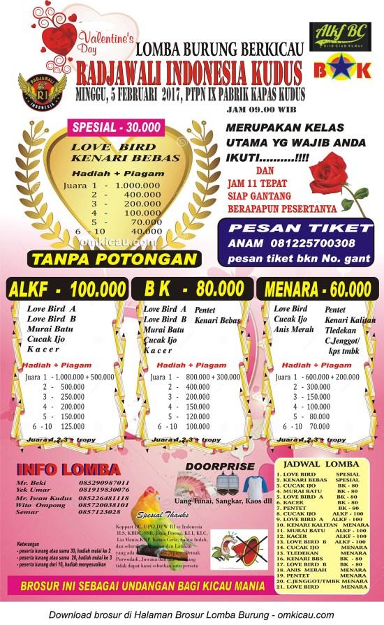Brosur Revisi Lomba Burung Berkicau Valentines Day Radjawali Indonesia Kudus, 5 Februari 2017