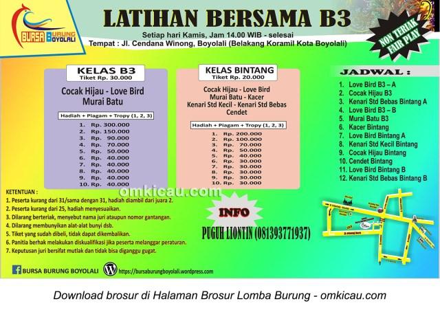Brosur Latihan Bersama Bursa Burung Boyolali (B3), Boyolali, setiap Kamis jam 2 siang