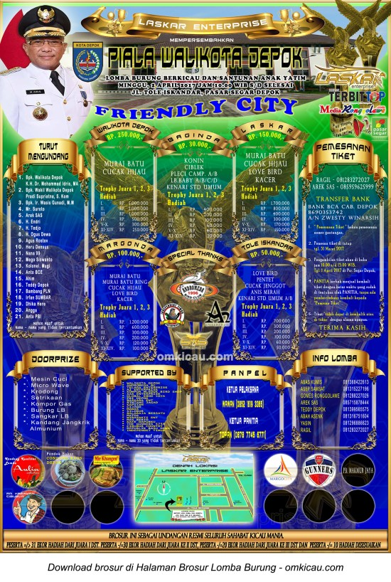 Brosur Lomba Burung Berkicau Piala Wali Kota Depok, 2 April 2017