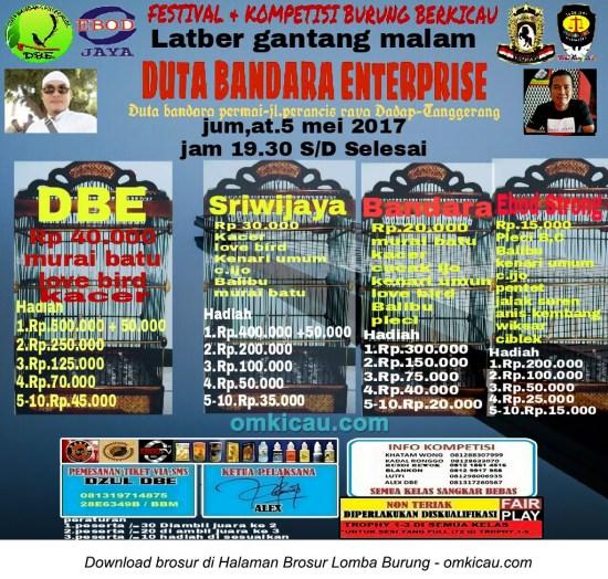 Brosur Latber Gantang Malam Duta Bandara Enterprise, Tangerang, 5 Mei 2017