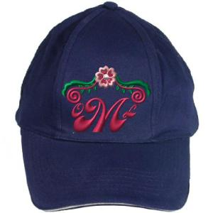 Monogram embroidery design on a hat