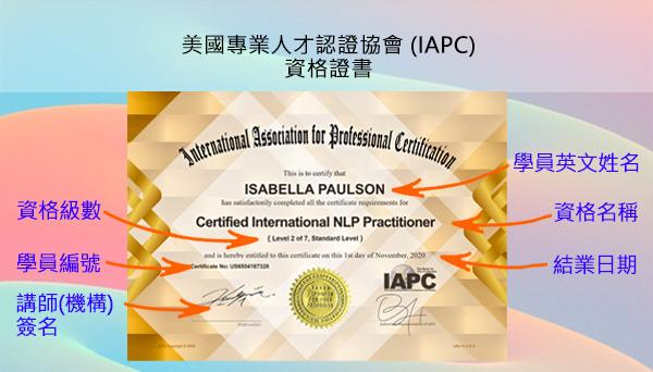 美國國際專業人才認證協會 (IAPC) 臺灣分會 -- 個人專業特色課程