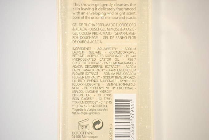 L'Occitane Fleur D'Or & Acacia Shimmering Showering Gel ingredients