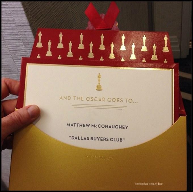 Oscars envelope contents Matthew McConaughey
