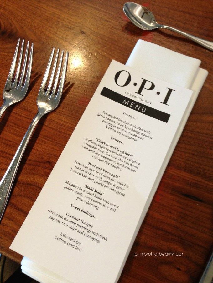 OPI Hawaii event menu